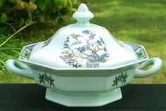 Adams China Calyx Ware Ming Toi Octagonal Covered Vegetable Bowl from Cousins Antiques Exclusively on Ruby Lane
