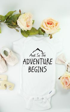 Cute baby announcement the adverture begins onesie, click above to shop. #pregnancyannouncementtofamily, #pregnancyannouncementtokids,