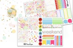 Planner Stickers Weekly Kit Rainbow Watercolor Pattern for your Erin Condren…