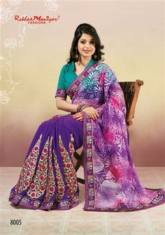 The Only real Elegance Comes From One's Selection of Apparel's , Groom Up yourselves with this latest trend of Shaded Net brasso by RekhaManiyar Fashions . a Modish Combination Of Pink and Purple Colour which every woman desires to wear. the patli is of Violet colour comprising of zari and Rama contrast tone which goes alongwith the contrast blouse provided in the saree