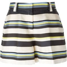 Jil Sander Navy Striped Shorts ($324) ❤ liked on Polyvore featuring shorts, multicolour, stripe shorts, multi colored shorts, colorful shorts, high-waisted shorts and colorful high waisted shorts