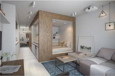 В маленькой прямоугольной квартире дизайнеры разместили куб со спальней внутри и кухней снаружи. Гениально? Не то слово: теперь 30 квадратных метров вмещают больше, чем вы думаете