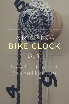 Cool is this Clock made From Used Bike Parts? More bike art with up-cycled bike parts at How Cool is this Clock made From Used Bike Parts? More bike art with up-cycled bike parts at Bike Craft, Recycled Bike Parts, Cool Clocks, Bicycle Art, Bicycle Parts Art, Bicycle Clock, Bicycle Shop, Diy Clock, Cycling Art