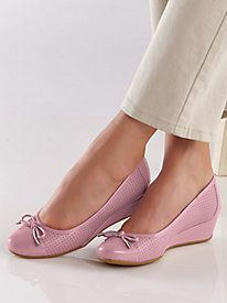 Classic ballet style updated with a metallic tipped bow ~ Dawnette Style Slip-Ons by Easy Spirit® from Bedford Fair