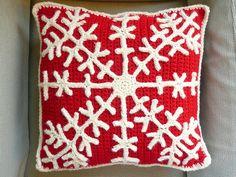 red & white snowflake crochet pillow