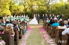 Outdoor Ceremony aisle at Vibrant Mint & Pink Vintage Barn Wedding Blog - RENT MY DUST Vintage Rentals Dallas Texas ~ flowers by The Southern Table