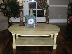 $175 Check out pickadillycharm.blogspot.com for custom refurbished furniture!!! Love this Yellow Glazed Coffee Table!!!