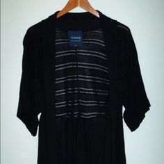 GUC sz L open front 3/4 sleeve Size L black open front 3/4 sleeve sweater. It's lightweight, perfect as a cover-up, and in good preowned condition. Absolutely Creative Worldwide Sweaters Shrugs & Ponchos