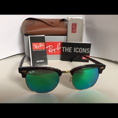 Ray Ban 3016 Clubmaster 1145/19 Tortoise /Gold 51 New Ray Ban 3016 Clubmaster 1145/19 Tortoise and Gold 51/21   Unisex!  Model#      Clubmaster 3016  Color-      Tortoise/ gold Size:    51-21  Lens color: flash green  Dimension    Lens: 51mm  Bridge: 21mm  Temple: 140mm  Glass: flash G-15 100% UV Protection  Made in Italy  Item is brand new never worn.   Actual pictures of sunglasses.   THIS ITEM INCLUDES:    Original Ray Ban box, case ,microfiber cleaning cloth & booklets Ray-Ban…