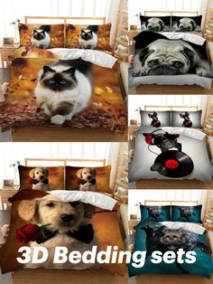 3D Bedding Set Cat Dog Print Comforter Quilt Cover Lifelike Bedclothes with Pillowcase Bed Set Home Decor Kids Gift 3d Bedding Sets, Bedclothes, Quilt Cover, Gifts For Kids, Comforters, Pillow Cases, Quilts, Cats, Stuff To Buy