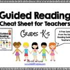 """This is a """"cheat sheet"""" to help all teachers in grades K-5 remember what to do before/during/after reading during a Guided Reading lesson.  Free!  Revised 9/4/2013"""