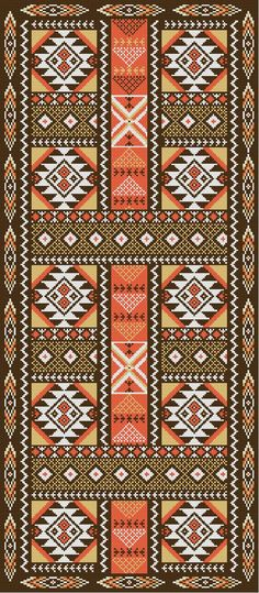 PUNTO CRUZ PATTERN (Photo of the Virtual Embroidery) Carpet Hall Aztec Type To embroider with Wool. by shauna rnrnSource by Tribal Patterns, Peyote Patterns, Beading Patterns, Cross Stitch Patterns, Folk Embroidery, Cross Stitch Embroidery, Embroidery Patterns, Bordado Popular, Cross Stitch Pictures