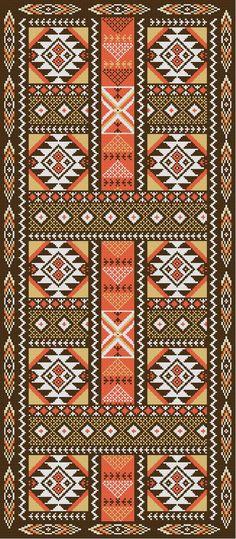PATRON PUNTO CRUZ (Foto del Bordado Virtual) Alfombra Pasillo Tipo Azteca Para bordar con Lanas. 162 puntos de ancho 372 puntos de largo. Utiliza 4 colores de Lanas.