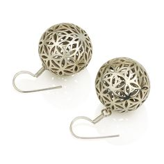 "Flower of Life Ball Earrings (Big) Sterling Silver 925 Size 1"" Sacred Geometry #MAGAYA #Hook"