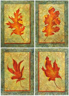 Leaf Series I Original Acrylic Autumn Leaf Paintings by SandyTweed, $225.00