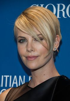 more of Charlize Theron's growing out hair
