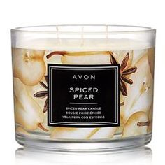 Fill your home with the sweet aroma that is AVON's Spiced Pear Candle. Enjoy notes of anjou pear apple peel allspice and brown sugar with this mood enhancing candle. Shop one now. Fall Candles, 3 Wick Candles, Scented Candles, Candle Jars, Candle Holders, Candle Shop, Avon Mark, Spiced Pear, Avon Catalog