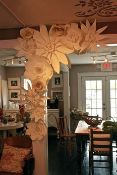 Paper Flower Wall Group 5 Flower Group White or Ivory by balushka