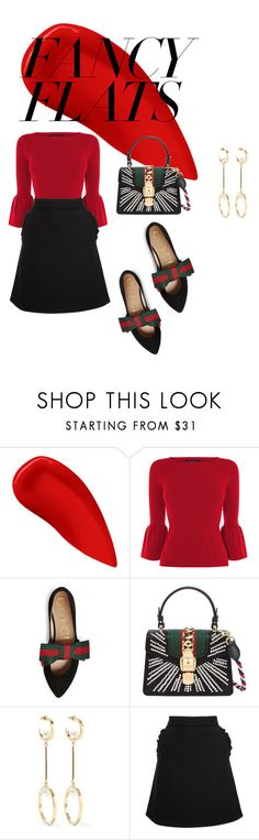 """My Gucci Flats"" by ann-caroline ❤ liked on Polyvore featuring Lipstick Queen, Gucci, Chloé, Kate Spade and chicflats"