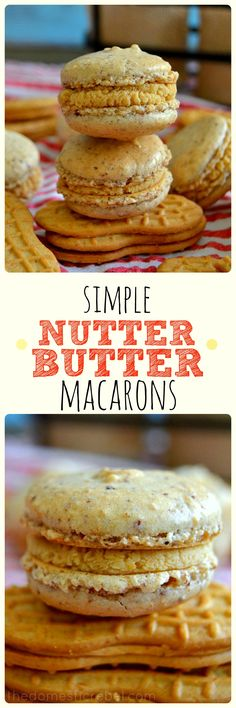These Nutter Butter Macarons combine the classic all-American cookie with the elegant French macaron in this EASY recipe! You won't believe how simple it is to make authentic macarons at home that taste like Nutter Butters! Kouign Amman, Cookie Recipes, Dessert Recipes, Biscuits, American Cookie, Nutter Butter Cookies, French Macaroons, Coconut Macaroons, Macaroon Recipes