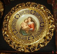 "Stunning ~ EXTREMELY RARE ~ Important ~ Museum Quality Piece ~ Antique ~ Royal Vienna ~ Jeweled group portrait plate ~ ""The Sixtinishe Madonna ~ By Raphael or The Sistine Madonna"" ~ The plate is fully jeweled ~ Hand painted ~ Superb colors ~ Craftmanship ~ Details ~ Beautiful gold gilded frame around plate"