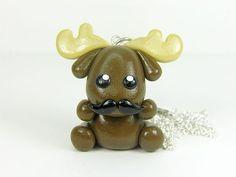 Moose Stache Kawaii Charm Necklace Polymer by PeeWeesClayHouse, $13.00