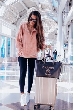 Your Guide To The BEST Cyber Monday Sales! + My Annual Louis Vuitton Neverfull Giveaway - Oversized Velour Hoodie [on sale off & I am wearing size small – it is definitely an oversize - Cute Airport Outfit, Airport Travel Outfits, Cute Travel Outfits, Cute Winter Outfits, Airport Style, Airport Clothes, Traveling Outfits, Winter Travel Outfit, Preppy Outfits For School