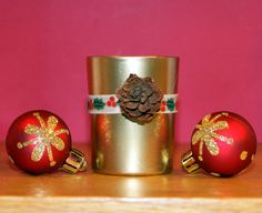 Holiday Candle / Votive Candle Holder /  by CarolesWeddingWhimsy, This set of 6 Christmas Votive Candle Holder has Pine Cones and Gold Red and Green Ribbon can be found here https://www.etsy.com/listing/171870864/holiday-candle-votive-candle-holder