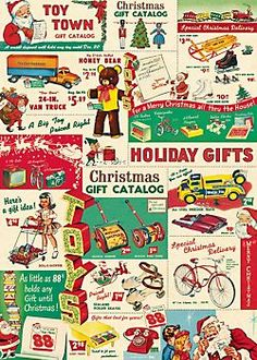 Cavallini Holiday Vintage Toy Catalog Wrapping Paper