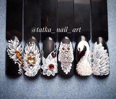 #naildesign #nailart #luxurynailart #whitenailart #animalnailart #swannailart #owlnailart