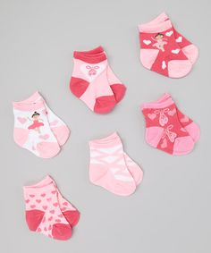 Take a look at this Pink & White Ballerina Socks Set - Infant & Toddler by Tic Tac Toe on #zulily today!