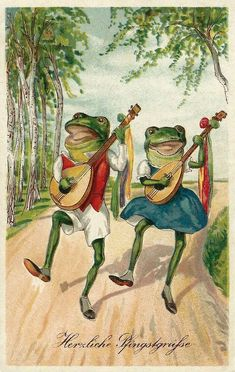 Art / Photography & Garden of the Far East Funny Frogs, Cute Frogs, Vintage Cards, Vintage Postcards, Frog Pictures, Frog Art, Frog And Toad, Fairy Art, Illustrations