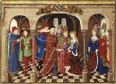 Marriage of Girart de Roussillon from an illuminated manuscript', ca. 1450.   So for the ladies I see a sideless surcoat and two burgundians (red and blue) with hennins.