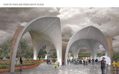 This pavilion provides shade and shelter while allowing visitors to understand the cycle of water at #confluencepark.