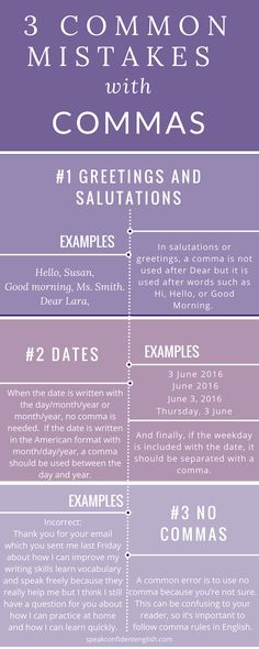 Do you make some of these mistakes in your English emails or business letters? Learn how to fix them and get the full lesson at: http://www.speakconfidentenglish.com/commas-in-english/?utm_campaign=coschedule&utm_source=pinterest&utm_medium=Speak%20Confident%20English%20%7C%20English%20Fluency%20Trainer