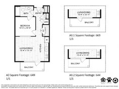 A0 – One Bedroom Apartment / One Bathroom  649 Square Feet