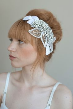 Bridal rhinestone headpiece  Crystal tulle and velvet by Twigs and Honey