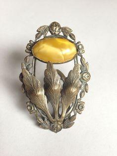 Vintage Antique Dress Clip Brooch Amber 1920s by vintagepleased, $35.00