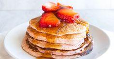 Strawberry Cheesecake Protein Pancakes