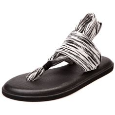 Shop for Womens Sanuk Yoga Sling 2 Sandal in Black White at Journeys Shoes. Shop today for the hottest brands in mens shoes and womens shoes at Journeys.com.Take some of that downward facing pressure off of your dogs with the new Yoga Sling 2 from Sanuk! Youll be saying Namaste once you slip into the Yoga Sling 2 whose footbed is made of real soft yoga mat with a durable rubber Happy U outsole, and a two-way stretchy knit floral printed strap that stretches around the ankle and over the ...