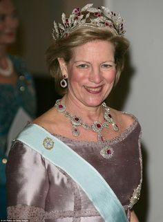 Awash with rubies: Queen Anne-Marie Of Greece pictured wearing the  Ruby Olive Wreath tiar...