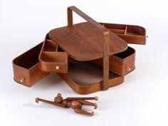 MID CENTURY MODERN TEAK SEWING BOX  -  DANISH