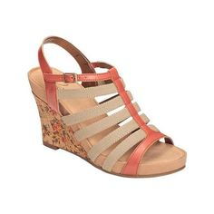 Women's A2 by Aerosoles Magic Plush Wedge Sandal - Peach Faux Leather... ($56) ❤ liked on Polyvore featuring shoes, sandals, platform wedge sandals, vegan shoes, wedge heel shoes, synthetic leather shoes и a2 by aerosoles