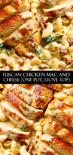 Tuscan Chicken Mac And Cheese is a ONE POT dinner made on the stove top, in less than 30 minutes!  #chickenrecipes #recipes #foodrecipes #easyrecipes #simplerecipes #quickrecipes #cheaprecipes #goodrecipes #bestrecipes #latestrecipes #newrecipes #recipesideas #simplefoodrecipes #cookingrecipes