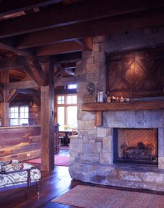 Love the doors above the fireplace maybe they are hiding the TV?  - CB Barn Remodel - Sunlit Architecture