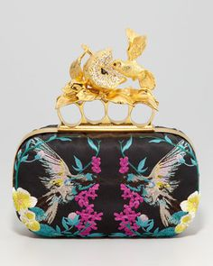 Apple & Hummingbird Knuckle-Duster Embroidered Clutch Bag by Alexander McQueen at Neiman Marcus.
