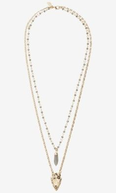 HI-LO BEAD AND ARROWHEAD NECKLACE from EXPRESS