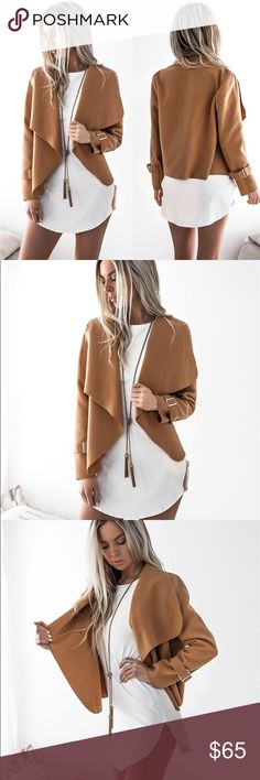 'Reese' Brown Soft Cardigan Jacket Softest material! Runs true to size but would also look great on a small. Belts on the sleeve are removable.   No trades  I ship same day ☝ I only sell on posh  I offer 10% off bundles of 3+ items ❓Comment with any questions! Jackets & Coats Blazers