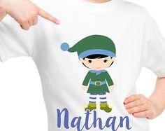 Little santa's elf, personalised Christmas t shirt   Boy or girl t shirt christmas gift.