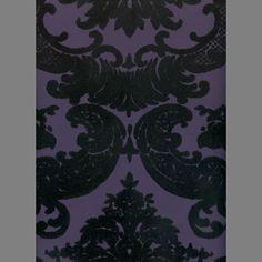 Black & Purple Madison Damask velvet flocked wallpaper: VCC0819